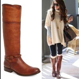 Frye | Melissa Seam Tall Cognac Brown Boots 7.5